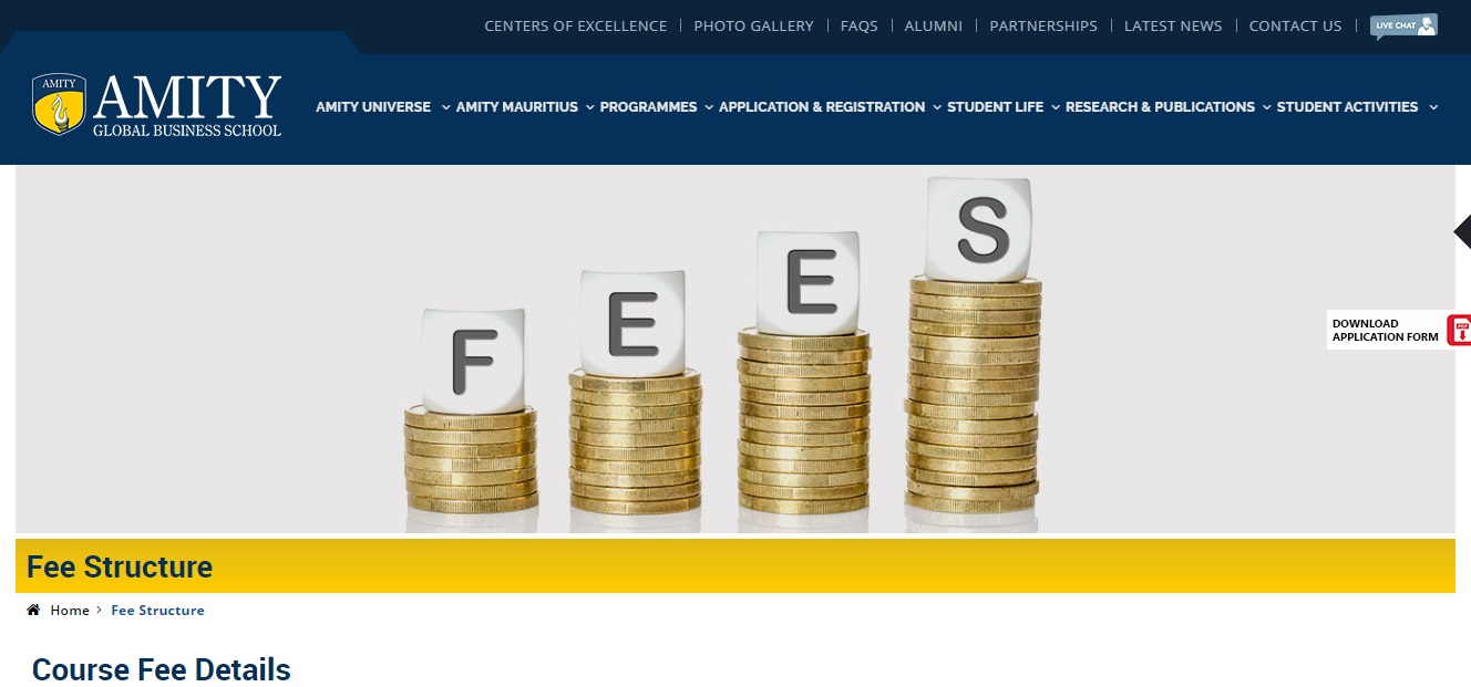Amity University Fees and Fee Structure
